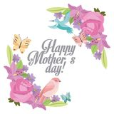 Happy mothers day delicate flowers bird butterfly ornament. Vector illustration Stock Image