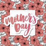 Happy Mothers Day elegant typography pink banner. Calligraphy text and heart in frame on red background for Mother`s Day. Best mo. M ever vector stock image