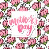 Happy Mothers Day elegant typography pink banner. Calligraphy text and heart in frame on red background for Mother`s Day. Best mo. M ever vector royalty free stock photography