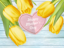 Happy Mothers Day. EPS 10. Natural Looking paper heart with the Words Happy Mothers Day on it. EPS 10 vector file included Stock Image