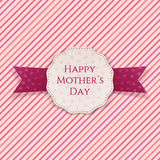 Happy Mothers Day festive Sign. White Banner and purple Ribbon on pink striped Background. Vector Illustration Stock Images