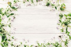 Happy mothers day flat lay. beautiful lilac flowers and daisy fr Stock Photography