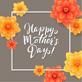 Happy Mothers Day Floral Greeting Card. Beautiful blooming paper flowers Royalty Free Stock Photo