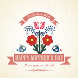 Happy Mothers Day floral greeting card Royalty Free Stock Images