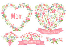 Free Happy Mothers Day, Floral Hearts, Vector Set Royalty Free Stock Photo - 38169925