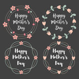 Happy Mothers Day with flowers greeting card set. Laurel wreath, Floral wreath. Vector illustration. vector illustration