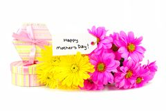 Happy Mothers Day gifts and flowers Royalty Free Stock Images