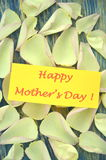 Happy mothers day and gorgeous petals of roses Stock Photos