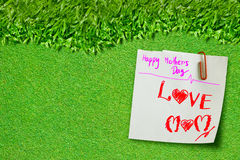 Happy mothers day on green grass Royalty Free Stock Photography
