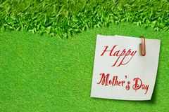 Happy mothers day on green grass Royalty Free Stock Photo