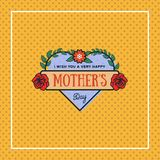 Happy mothers day greeting card with blossom flowers on dotted background. Vector Illustration Royalty Free Stock Image