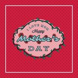 Happy mothers day greeting card with blossom flowers on dotted background. Vector Illustration Stock Photo
