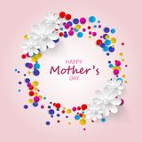Happy Mothers Day Greeting Card. Confetti and Floral Background. Happy Mothers Day Greeting Card Confetti and Floral Background Stock Photos