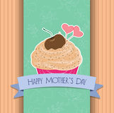 Happy mothers day greeting card cupcake sweet love Royalty Free Stock Photography