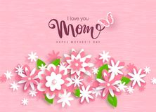 Happy Mothers Day greeting card design with beautiful paper flowers. Design layout for invitation, greeting card, ad. Promotion, banner, poster, voucher stock illustration