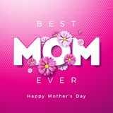 Happy Mothers Day Greeting card design with flower and Best Mom Ever typographic elements on pink background. Vector Stock Photos