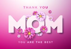 Happy Mothers Day Greeting card design with flower and Thank You Mom typographic elements on pink background. Vector. Celebration Illustration template for vector illustration