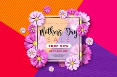 Happy Mothers Day Greeting card design with flower and typographic elements on abstract background. Vector Celebration. Illustration template for banner, flyer Royalty Free Stock Image