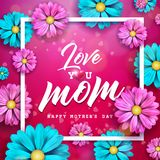 Happy Mothers Day Greeting card design with flower and typographic elements on red background. I Love You Mom Vector. Celebration Illustration template for stock illustration