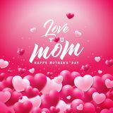 Happy Mothers Day Greeting card design with heart and Love You Mom typographic elements on red background. Vector. Celebration Illustration template for banner vector illustration