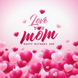 Happy Mothers Day Greeting card design with heart and Love You Mom typographic elements on white background. Vector. Celebration Illustration template for stock illustration
