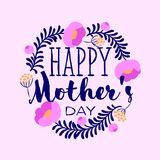 Happy Mothers Day greeting card with elegant lettering and peony Royalty Free Stock Photo