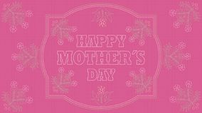 Happy Mothers Day Greeting Card.Embroidered message on a pink fabric inside a white border with drawings of flowers embroidered stock illustration