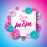 Happy Mothers Day Greeting card with flower and Love You Mom typographic elements on pink background. Vector Celebration. Illustration for banner, flyer royalty free illustration