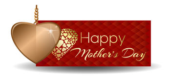Happy Mothers Day. Greeting card with gold heart Royalty Free Stock Image