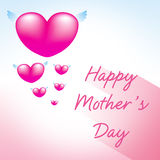 Happy mothers day greeting card. Heart pink background Royalty Free Stock Photo