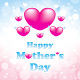 Happy mothers day greeting card. Heart pink background Royalty Free Stock Image
