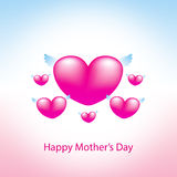 Happy mothers day greeting card. Heart pink background Stock Photo