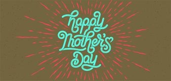 Happy Mothers Day Greeting Card. Holiday Vector Illustration With Lettering Composition And Burst. Vintage festive label stock image