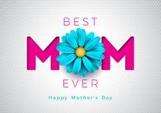 Happy Mothers Day Greeting card illustration with flower and mom typographic design on white background. Vector. Celebration Illustration template for banner stock illustration