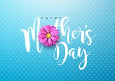 Happy Mothers Day Greeting card illustration with pink flower and typographic design on blue background. Vector Stock Photography
