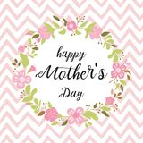 Happy Mothers day greeting card, invitation Floral wreath hand drawn flowers vector illustration. Happy Mothers Day greeting card design Typographic quote Floral royalty free illustration