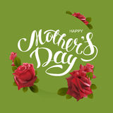 Happy mothers day. Greeting card lettering text and flower rose Royalty Free Stock Photography