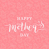 Happy Mothers Day greeting card pink illustration for greeting card,festive poster etc.Vector hand lettering calligraphy Royalty Free Stock Photos