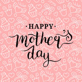 Happy Mothers Day greeting card pink illustration for greeting card,festive poster etc.Vector hand lettering calligraphy Royalty Free Stock Images