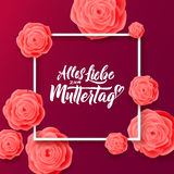 Happy Mothers Day Greeting Card. Pink Rose Flowers. Stock Photo