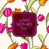 Happy Mothers day greeting card with pink and yellow tulip flowers. Vector floral seamless pattern.  Royalty Free Stock Images