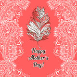 Happy Mothers Day greeting card or poster design with elegant feather stock illustration