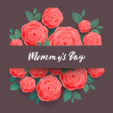 Happy Mothers Day Greeting Card. Rose Flowers. Stock Image