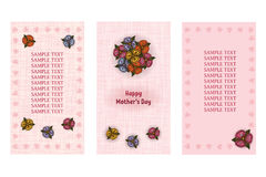Happy Mothers Day greeting card. Three different vector patterns. Postcard in pastel pink colors with a bouquet. Stock Photography