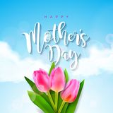 Happy Mothers Day Greeting card with tulip flower on cloud background. Vector Celebration Illustration template with Royalty Free Stock Image