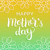 Happy Mothers Day greeting card vector illustration. Hand lettering calligraphy holiday background in floral frame. Happy Mothers Day greeting card vector Royalty Free Stock Photo