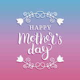 Happy Mothers Day greeting card vector illustration. Hand lettering calligraphy holiday background in floral frame. Happy Mothers Day greeting card vector Stock Photography