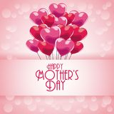 Happy mothers day greeting with heart balloons and bubbles background. Vector illustration eps 10 Stock Photography