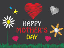 Happy Mothers Day. Hand drawn flowers, hearts, stars, grass and letters on dark background. Editable vector illustration Stock Illustration
