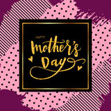 Happy Mothers Day Hand-drawn Lettering card. Vector royalty free illustration